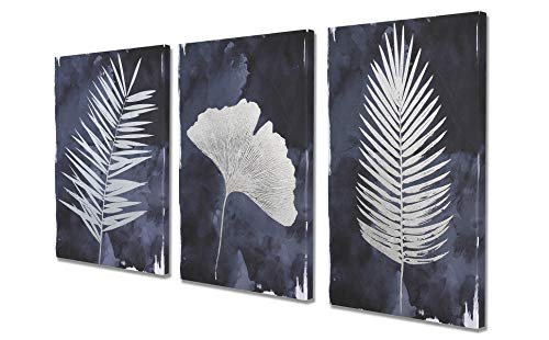 (Fox Art Large Wall Art Canvas Art 3 Panels Modern Wall Decor Navy Blue Silver Metallic Foil Palm Ginkgo Leaves for Living Room Bedroom Bathroom Stretched and Framed Ready to Hang 48x24)