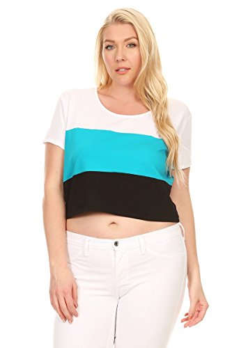 Ambiance Apparel Plus Size Short Sleeve Jersey Crop Top (1XL, Aqua)