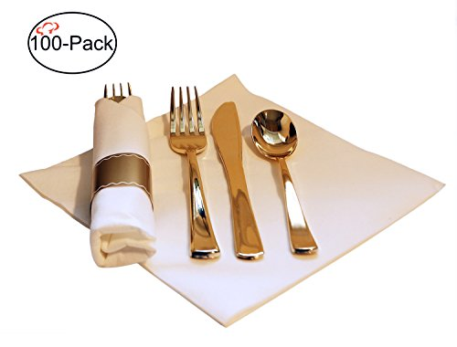 Tiger Chef 100-Pack 16-inch Pre Rolled Cutlery in Linen-Feel White Napkins and Gold Heavy Weight Plastic Silverware with Napkin Band Set, Includes Forks, Spoons and Knives in Rolled Napkins BPA-free (Cutlery White)