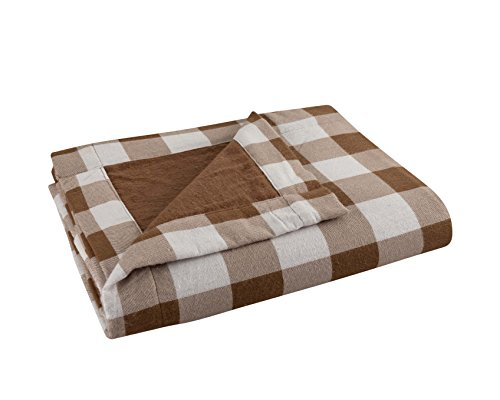 "DELANNA Flannel Throw, Reversible 2-Ply Thick Blanket 100% Cotton (60"" x 80"", Buffalo Check Brown)"
