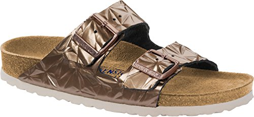 Birkenstock Unisex Arizona Soft Footbed Embossed Leather Spectral Copper Sandals 8 W / 6 M US ()