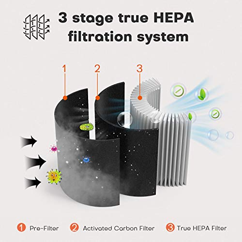 MOOKA Air Purifier for Home, 3-in-1 True HEPA Filter Air Cleaner for Bedroom and Office, Odor Eliminator for Allergies and Pets, Smoke, Dust, Mold, 3D Filtration, Night Light, Available for California