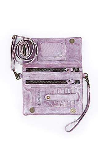 Bed|Stu Women's Cadence Leather Wallet, Crossbody or Clutch (Lilac Rustic Silver Metallic) by Bed|Stu (Image #2)