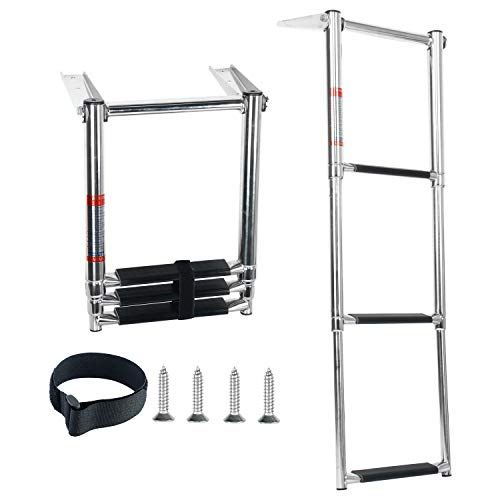 DasMarine 3 Step Ladder 316 Stainless Steel Telescoping Ladder, Telescoping Folding Over Platform Boarding Swim Step Ladder with Built in Handle, 900 lbs. Capacity with Secure Strap
