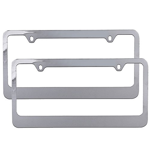 U A A  Inc  2 Pc  Plain Universal Metal License Plate Frames  Chrome