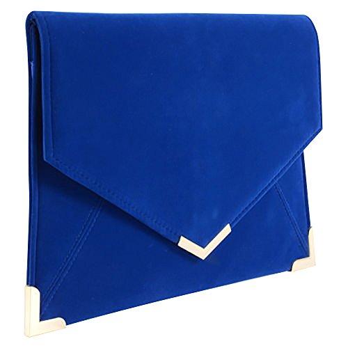 Brand New Wocharm Ladies Suede Velvet Envelope Evening Clutch Bag Women Wedding Party Handbag Royal Blue