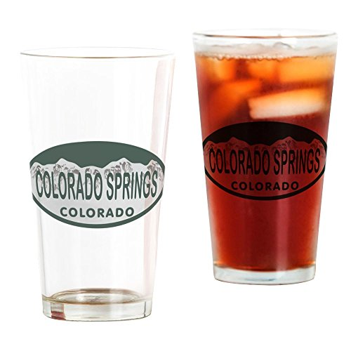 CafePress Colorado Springs Colo License Plate Pint Glass, 16 oz. Drinking Glass ()
