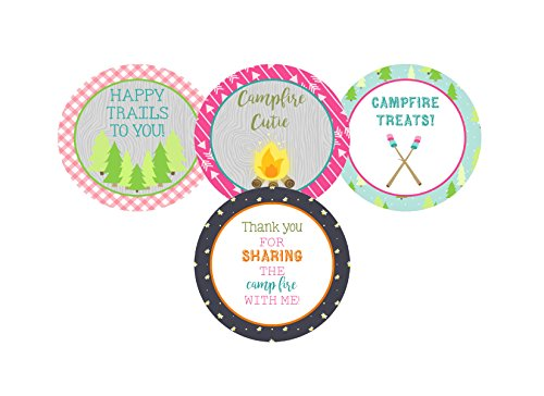 Glamping Girl Camping Pink Party Invitations Supply Decoration Decor (Sticker Favors)]()