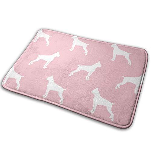 Boxer Dogs On Pink Cropped Ears U0026 Docked Tail Floor Bath Entrance Rug Mat Absorbent Indoor Bathroom Decor Doormats Rubber Non Slip 15.7