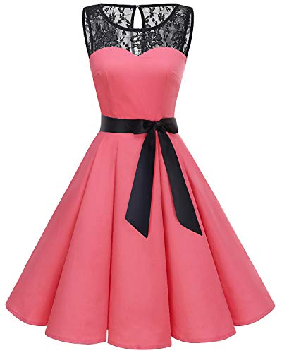 Bbonlinedress Women's 1950s Vintage Rockabilly Swing Dress Lace Cocktail Prom Party Dress Coral M