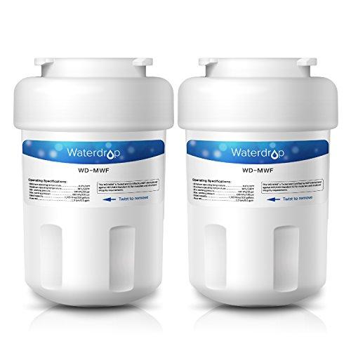 Waterdrop MWF Refrigerator Water Filter Replacement for GE MWF, MWFP, MWFA, GWF, GWFA, SmartWater, Kenmore 9991, 46-9991, 469991 (2 Pack)