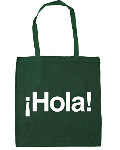 x38cm Greeting Spanish 10 Tote Bag 42cm Gym HippoWarehouse Hola Shopping Bottle Green Beach litres xawz5qfC