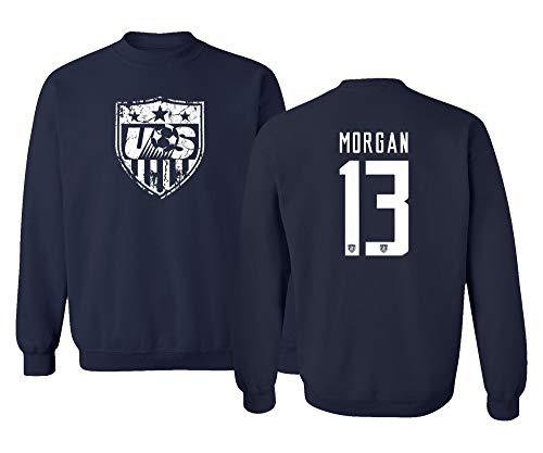 TURXIN New Soccer Shirt America USA National Team #13 Alex Morgan Unisex Sweatshirt Crewneck Sweater (Navy, Medium)
