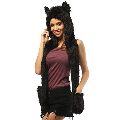 Panther Hat Animal Faux Fur Hoodie Furry Hood Scarf Gloves Mittens Burning Man Headwear Rave Clothes Festival (Black Panther)