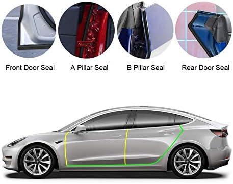 Basenor Tesla Model 3 Model S Türdichtungssatz Schalldichte Gummidichtung Wetterzugluftdichtungsstreifen Windgeräuschreduzierungssatz 2019 2020 2021 Auto