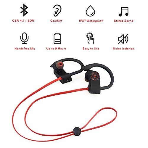 41595ea995f Bluetooth Headphones, Small Target Best Wireless Sport Earphones w/Mic IPX7  Waterproof Stable Fit