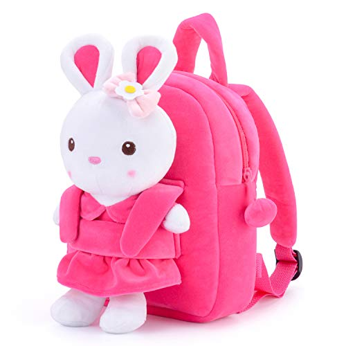 Gloveleya Girls Backpacks Kids Backpack for Girls Gifts Toy Plush Doll Removable Book Bags for Kindergarten Pink 9 Inches