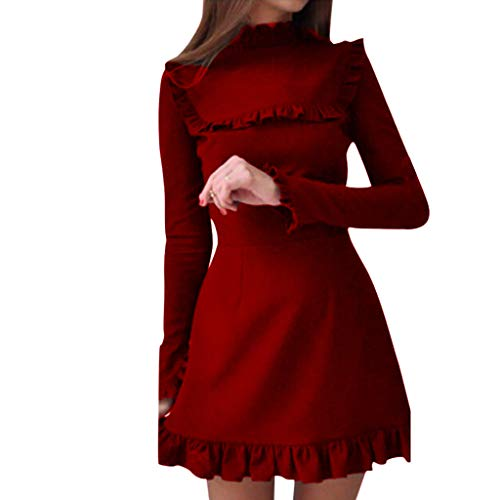 AIMTOPPY Ladies Solid Color Casual Lace Long Sleeve Mini Dress