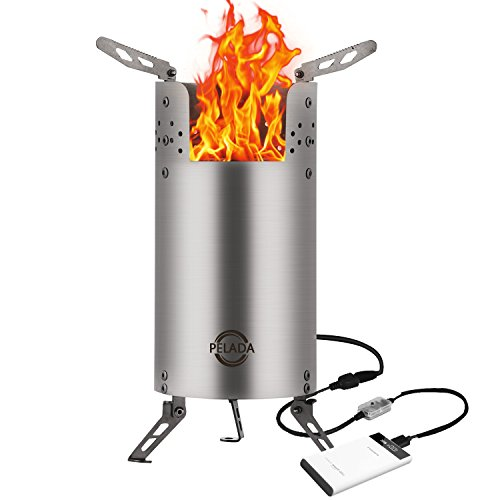 USB Wood Burning Stove,KORODA Portable Outdoor Backpacking Camp Stove For BBQ /Picnic/Hiking and Other Outdoor Activities-With Smart Blower System,HEAVY FIRE AND LESS SMOKE
