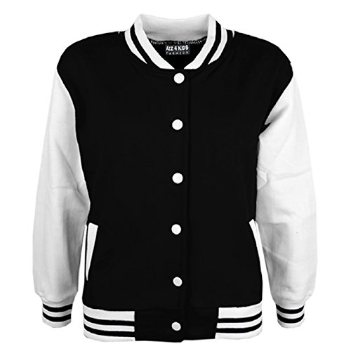 KIDS GIRLS BOYS BASEBALL JACKET VARSITY STYLE PLAIN SCHOOL JACKETS TOP 5-13 -