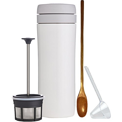 Cheap Espro Travel Coffee Press, Stainless Steel, 12 oz (5012C-15WT) Bright White, Zonoz One-Tablespoon Plastic Clever Scoop & Zonoz 8.25-Inch Wooden Stirring Spoon Bundle