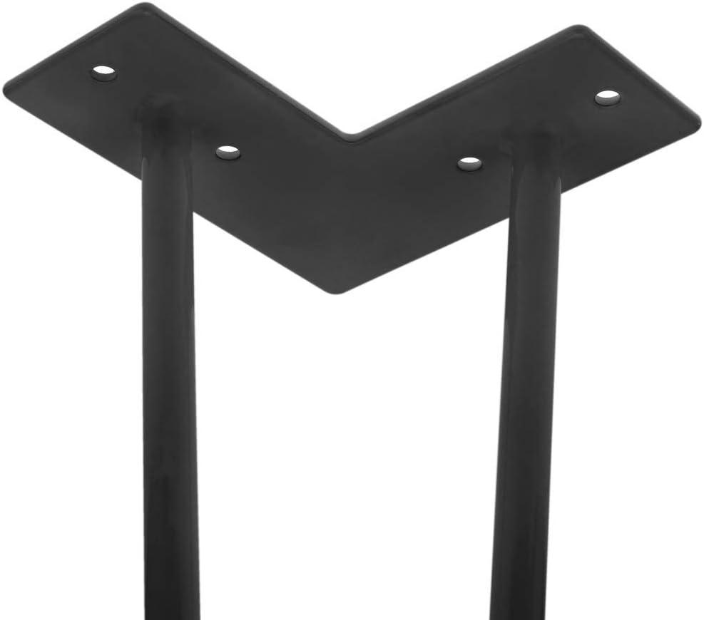 PrimeMatik Pies para Mesa y Mueble Patas en Acero 2 Varillas 30 cm Negro 4-Pack