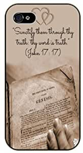 Sanctify them through thy truth: thy word is truth - John 17:17 - Vintage Bible verse iPhone 5 / 5s black plastic case / Christian Verses