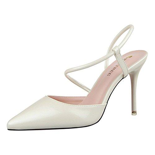 Delle Donne Pompa Della Tirahse Del Sandalo Vestito Tacco Confortevoli Cinghia Caviglia Alto Bianco Dalla vf66zWHZ