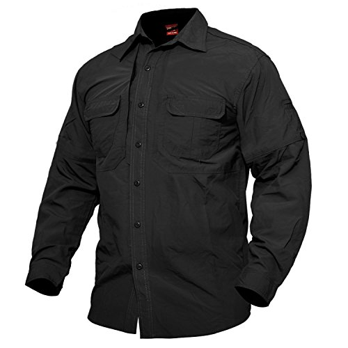MAGCOMSEN U.S Army Long Sleeve Buttons Shirt Quick Dry UV Protection Trekking Sport Nylon Military ()