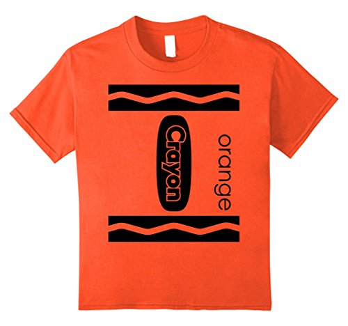 Kids Orange Crayon Halloween Couple Friend Group Costume T-shirt 10 Orange