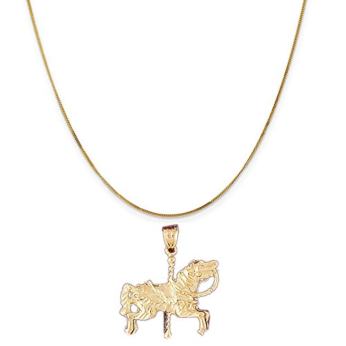 14k Yellow Gold Carousel Horse Pendant on a 14K Yellow Gold Curb Chain Necklace, 20