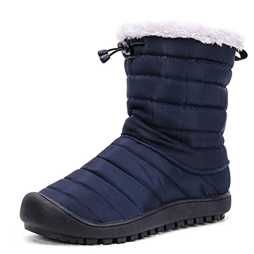 Zefani Unisex Waterproof Ankle Snow Boots Outdoor Winter Hiking Shoes,House Slippers-2 Way Use Navy 13 US Men