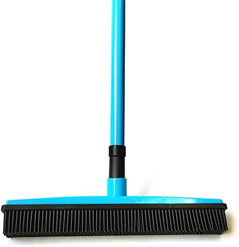 SAIrch Adjustable Silicone Bristle Push Broom Carpet Rake Squeegee,Human and Pet Hair Remover Adjustable rubber Bristles Sweeper Squeegee for Pet Cat Dog Hair Carpet