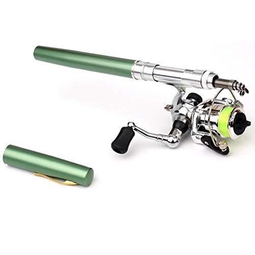 JesseBro76 Mini Pen Type Fishing Rod Telescopic Fishing Pole with Metal Fishing Reel green