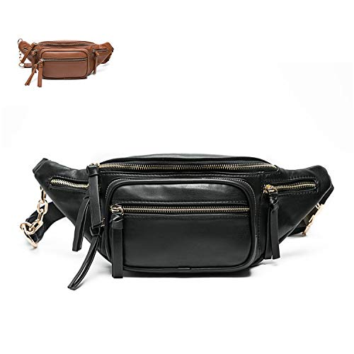 Leather Fanny Packs For Women By Miss Fong, Belt Bag For Women, Wasit Bag, Bum bag, Travel Fanny Pack With 9 Pockets (Black)