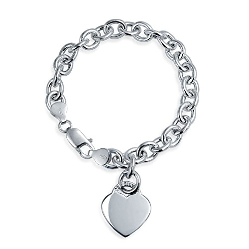 Solid Heart Shape Charm Tag Chain Bracelet For Women For Teen Engravable 925 Sterling Silver Heavy Rolo Chain 8 In