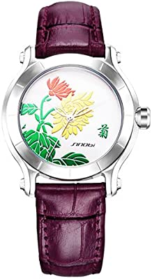 purple SINOBI New Chinese Women Watches For Plum Flower Female Red Leather Fashion Wristwatches Ladies Clock Relojes Mujer Mothers Day