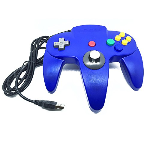 ZYOU 1.8m Wired Classic Nintendo 64 Controller N64 Retro USB Game Controller Gamepad Joystick for Windows PC / MAC / Raspberry Pi / Sega Genesis / Higan Blue