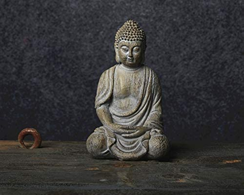 Meditating Buddha Statue Figurine, 6.7inch Buddha Serene Decorative Sitting Resin Zen Sculpture Decoration for Home Outdoor Garden Patio Desk Porch Yard Art Decoration, Zen Decor