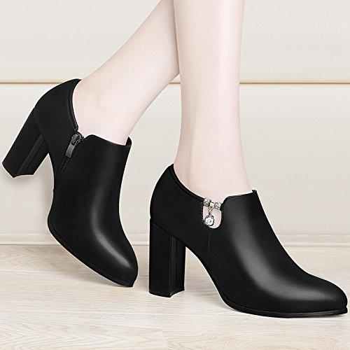 Scarpe Con black Tutto E Autunno Con Impermeabili Scarpe KPHY Nero Le La Primavera Moda Coreano Rude Scarpe wx4WWOa5q1