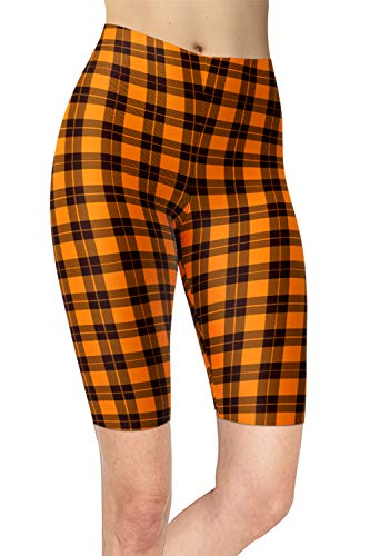 Women's Checkered Plaid Printed Biker Shorts Buttery Soft Workout Leggings (Plus Size (L-2X / Size 12-24), Halloween Plaid)]()