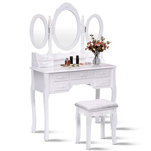 Giantex Tri Folding Oval Mirror Wood Bathroom Vanity Makeup Table Set with -