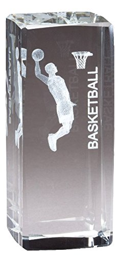 Customizable Male Basketball Figure Optical Crystal Award Laser Engraved Image Inside, includes Personalization