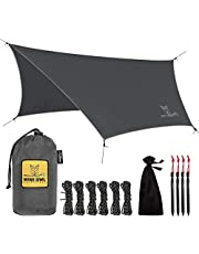 Wise Owl Outfitters Rain Fly Tarp – The WiseFly Premium 11 x 9 ft Waterproof Camping Shelter Canopy – Lightweight Easy Setup for Hammock or Tent Camp Gear – 6 Styles