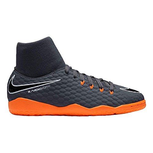 (NIKE Kids Jr. Hypervenom PhantomX 3 Academy Dynamic Fit IC Soccer (Little Kid/Big Kid) (4-M, Dark Grey/Total Orange/White))