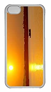 iPhone 5C Case, Personalized Custom Beach Scene Sunrise 3 for iPhone 5C PC Clear Case