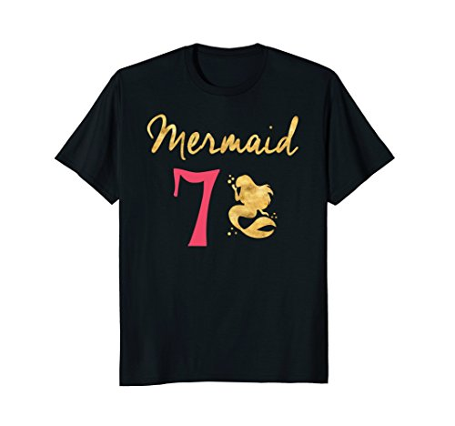 Mermaid 7th Birthday Gold Letters Outfit Shirt for (7th Letter)