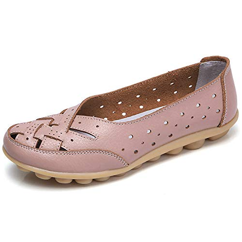 Aunimeifly Womens Round Toe Peas Shoes Hollow Hole Shoes Sandals Casual Shoes Flat Shoes Pink