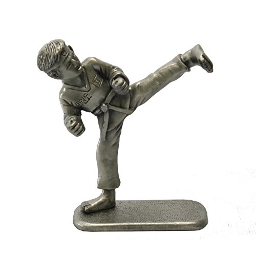 Figurine Folk Art Statue (Taekwondo Kick Collectible figurines Korean Folk Martial Arts Pewter Statue)