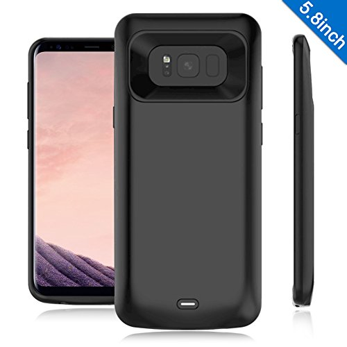 Galaxy S8 Battery Case,TQTHL 5000mAh Ultra Slim Portable Charger Type C Extended Battery Juice Bank Rechargeable Power Pack Cover Charging Case for Samsung Galaxy S8 (2017)-5.8 inch Black
